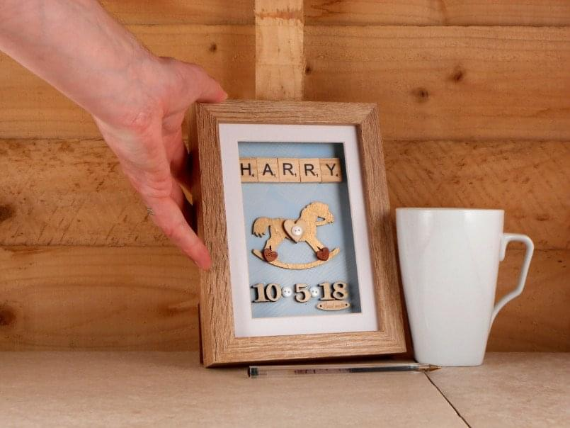 Cute personalised baby rocking horse gift scale example