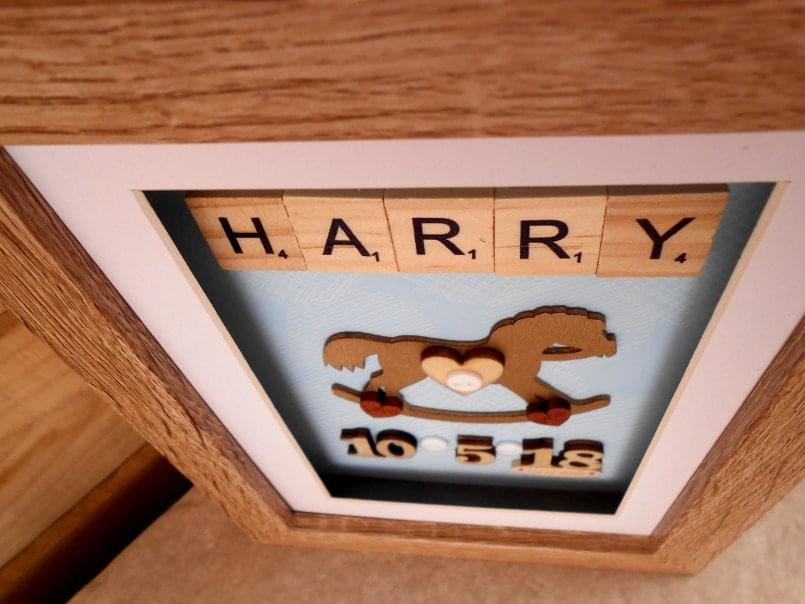 Cute personalised baby rocking horse gift close detail shot